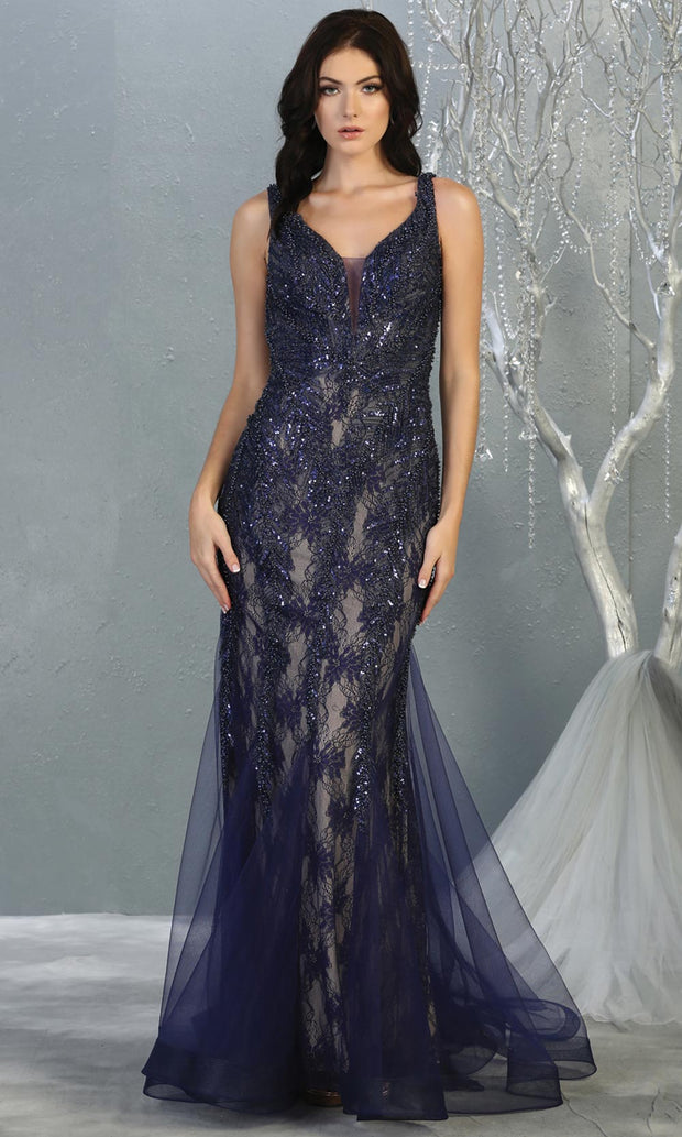 Mayqueen RQ7872 long navy blue lace v neck evening mermaid gown w/straps. Full length fitted dress is perfect for  enagagement/e-shoot dress, formal wedding guest, modest evening party dress, prom, mother of bride, black tie, gala. Plus sizes avail.jpg