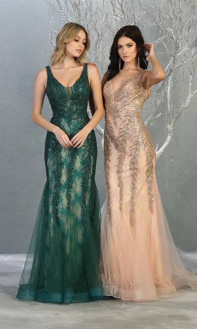 Mayqueen RQ7872 long rose gold lace v neck evening mermaid gown w/straps. Full length fitted dress is perfect for  enagagement/e-shoot dress, formal wedding guest, modest evening party dress, prom, mother of bride, black tie, gala. Plus sizes avail.jpg