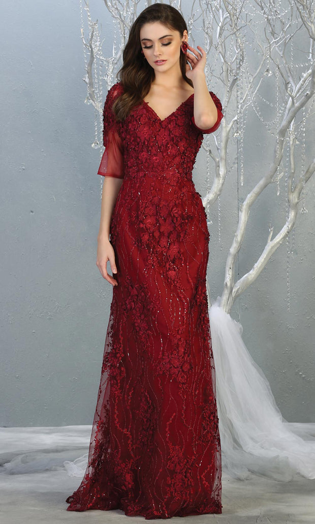 Mayqueen RQ7873 long burgundy red lace dress with long sleeves and low open back. Perfect for mother of bride, conservative evening dress, muslim party dress, indowestern gown. Plus sizes avail