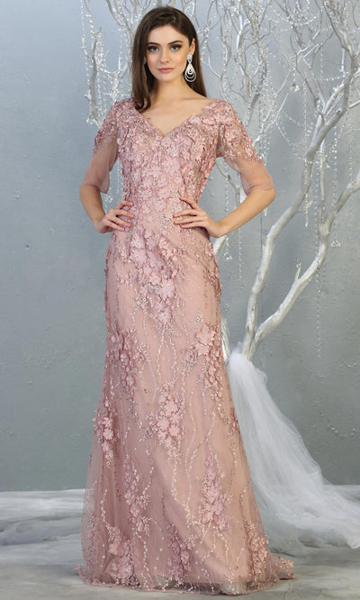 Mayqueen RQ7873 long mauve lace dress with long sleeves and low open back. Perfect for mother of bride, conservative evening dress, muslim party dress, indowestern gown. Plus sizes avail.jpg