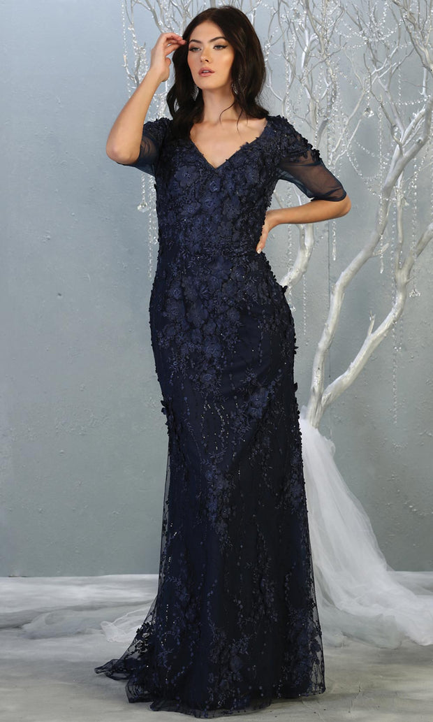 Mayqueen RQ7873 long navy lace dress with long sleeves and low open back. Perfect for mother of bride, conservative evening dress, muslim party dress, indowestern gown. Plus sizes avail.jpg