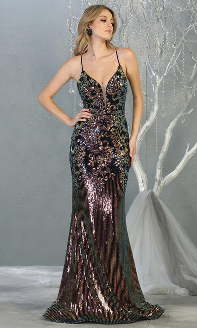 Mayqueen RQ7874 long navy sequin v neck evening mermaid sleek & sexy dress w/open back. Full length fitted dress is perfect for  enagagement/e-shoot dress, formal wedding guest, sexy evening party dress, prom, black tie, gala. Plus sizes avail-2.jpg