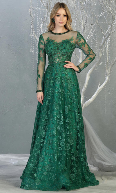Mayqueen RQ7875 long hunter green modest evening dress w/long sleeves. Full length dark green flowy gown is perfect for  enagagement/e-shoot dress, mother of bride, muslim evening party dress, prom, indowestern, wedding reception. Plus sizes avail.jpg