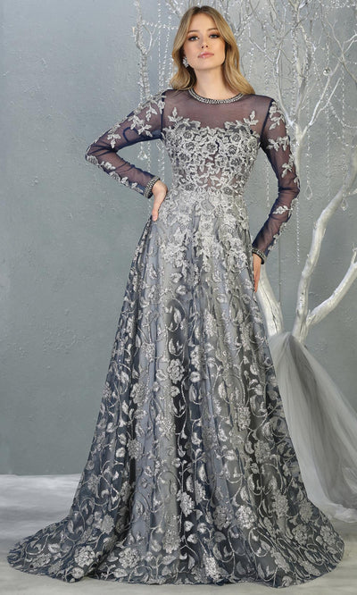 Mayqueen RQ7875 long navy silver modest evening dress w/long sleeves. Full length navy grey flowy gown is perfect for  enagagement/e-shoot dress, mother of bride, muslim evening party dress, prom, indowestern, wedding reception. Plus sizes avail.jpg