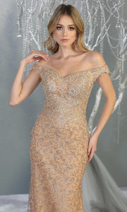 Mayqueen RQ7879 long champagne sequin off shoulder evening mermaid dress. Full length sleek & sexy fitted dress is perfect for  enagagement/e-shoot dress, formal wedding guest, evening party dress, prom, black tie, gala, indowestern. Plus sizes avail-.jpg