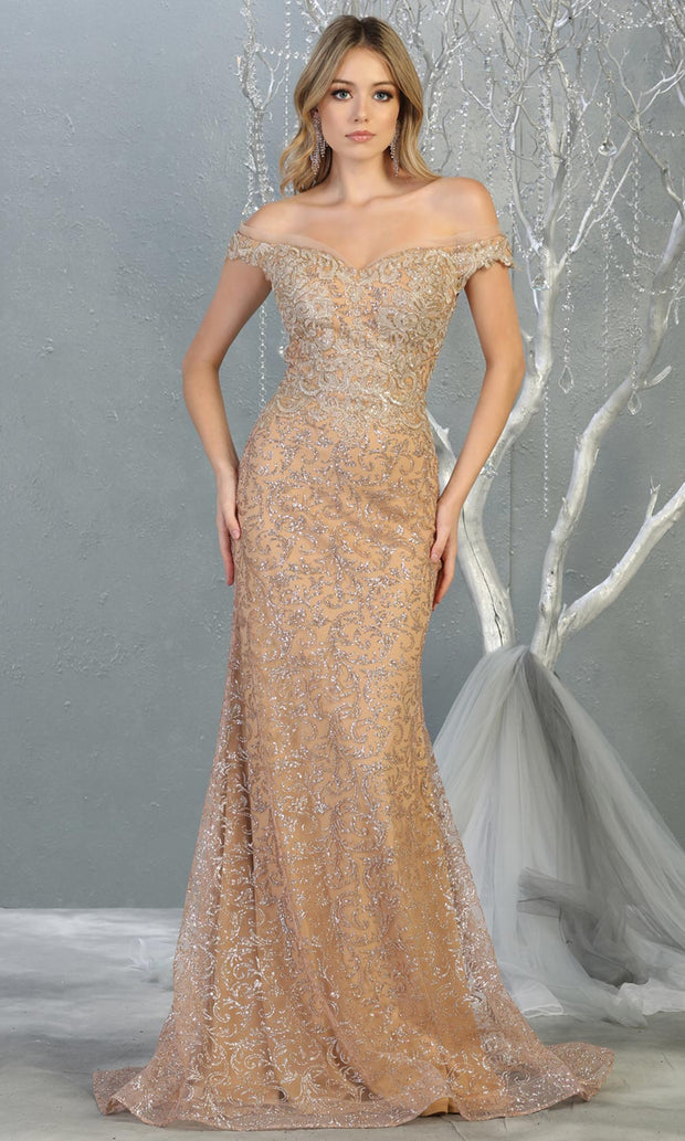 Mayqueen RQ7879 long champagne sequin off shoulder evening mermaid dress. Full length sleek & sexy fitted dress is perfect for  enagagement/e-shoot dress, formal wedding guest, evening party dress, prom, black tie, gala, indowestern. Plus sizes avail.jpg