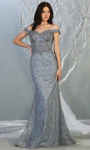 Mayqueen RQ7879 long dusty blue sequin off shoulder evening mermaid dress. Full length sleek & sexy fitted dress is perfect for  enagagement/e-shoot dress, formal wedding guest, evening party dress, prom, black tie, gala, indowestern. Plus sizes avail.jpg