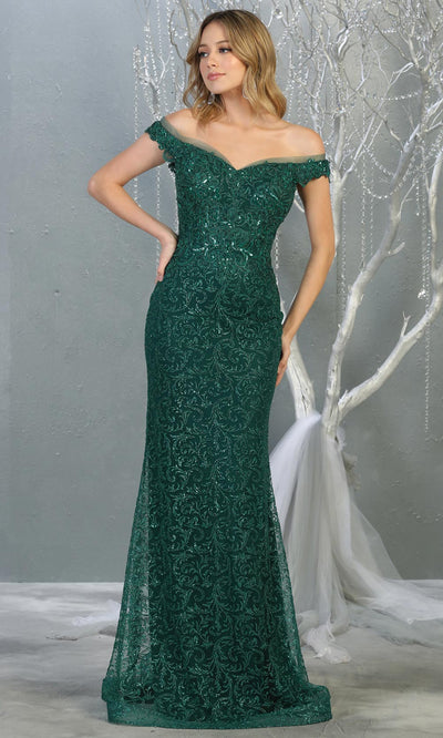 Mayqueen RQ7879 long hunter green sequin off shoulder evening mermaid dress.Full length sleek & sexy fitted dress is perfect for  enagagement/e-shoot dress, formal wedding guest, evening party dress, prom, black tie, indowestern. Plus sizes avail.jpg