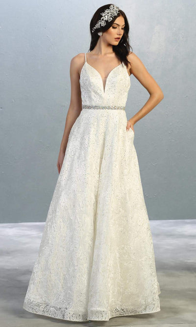 Mayqueen RQ7880-long ivory wedding dress w/v neck & straps. Formal lace flowy dress is perfect wedding bridal dress, sexy prom dress, court/civil wedding, second wedding, destination wedding dress, cheap wedding dress. Plus sizes avail.jpg