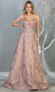 Mayqueen RQ7880 long mauve lace  evening flowy dress w/straps. Full length flowy dress is perfect for  enagagement/e-shoot dress, formal wedding guest, evening party dress, prom, black tie, gala, indowestern. Plus sizes avail.jpg