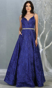 Mayqueen RQ7880 long royal blue lace  evening flowy dress w/straps. Full length flowy dress is perfect for  enagagement/e-shoot dress, formal wedding guest, evening party dress, prom, black tie, gala, indowestern. Plus sizes avail.jpg