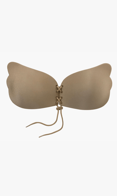 Nude corset bra has a sticky adhesive on the cups to keep in place. This strapless bra has a corset tie to create a push up for cleavage. Perfect for open back, backless dresses, strapless, and low v cut dresses. Can be worn 90 times.
