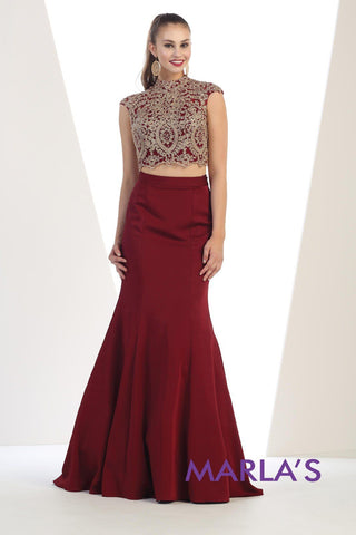 Burgandy Mock Neck 2 Piece with Mermaid Skirt