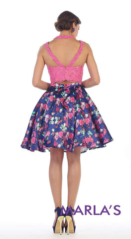 Pink Two-Piece Short Printed Dress