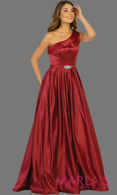 Long One-Shoulder Satin Dress