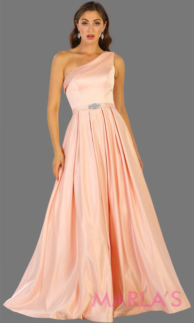 May Queen - RQ7571 One Shoulder Satin Dress