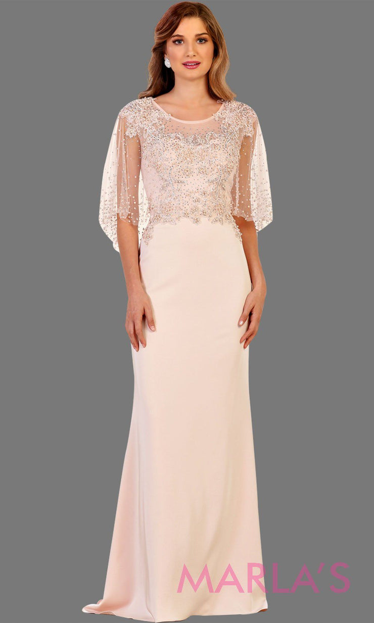 Long Dress With Beaded Chiffon Overlay