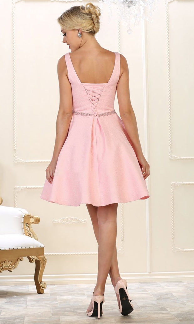 May Queen - RQ7605 Embellished Pleated A-Line Dress In Pink