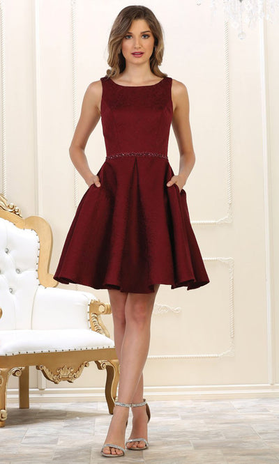 May Queen - RQ7605 Embellished Pleated A-Line Dress In Red