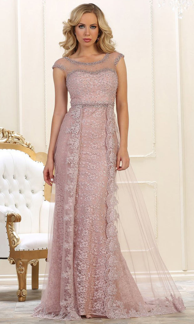 May Queen - RQ7627 Embellished Lace Sheath Gown