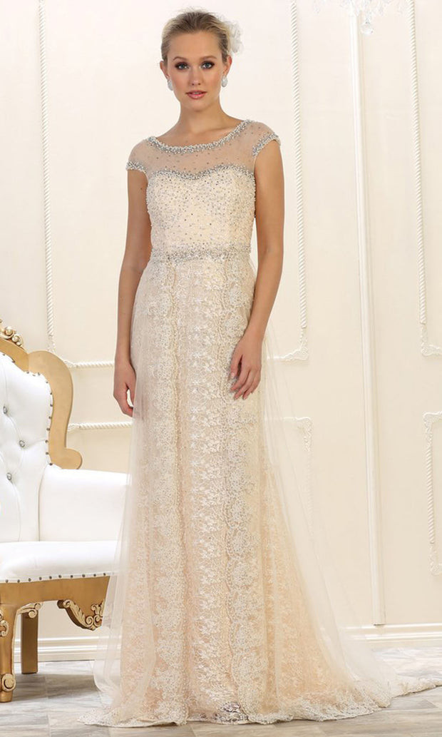 May Queen - RQ7627 Embellished Lace Sheath Gown In Neutral