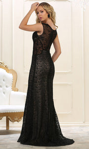 May Queen - RQ7628 Cap Sleeve Laced Sheath Dress In Black
