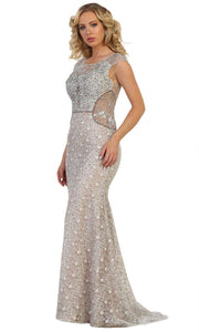 May Queen - RQ7628 Cap Sleeve Laced Sheath Dress In Silver