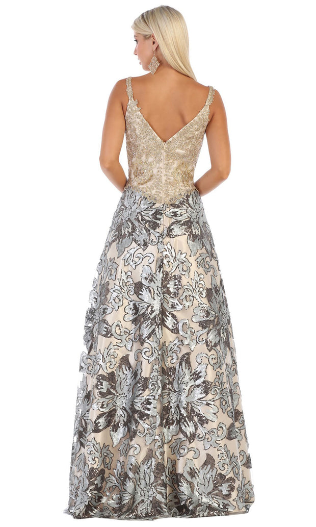 May Queen - RQ7655 V Neck Sequined Gown In Silver and Gold