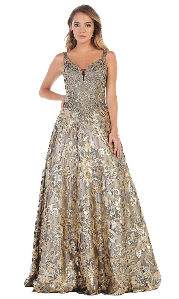 May Queen - RQ7655 V Neck Sequined Gown In Black and Gold
