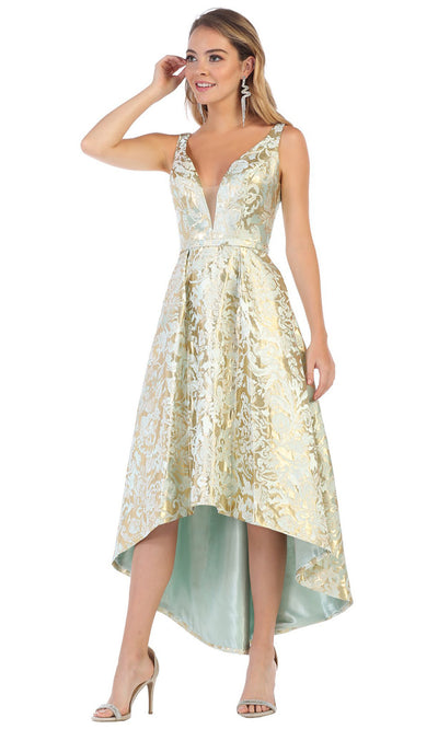 May Queen - RQ7681 V Neck Floral High Low Dress In Gold