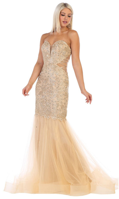 May Queen - RQ7682 Sweetheart Beaded Mermaid Dress In Gold
