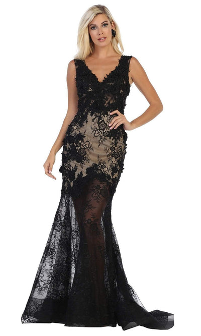 May Queen - RQ7687 V Neck Laced Trumpet Dress In Black