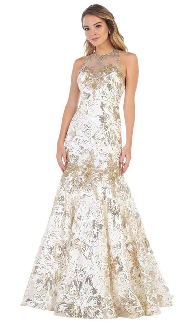 May Queen - RQ7698 Halter Sequined Trumpet Gown In White