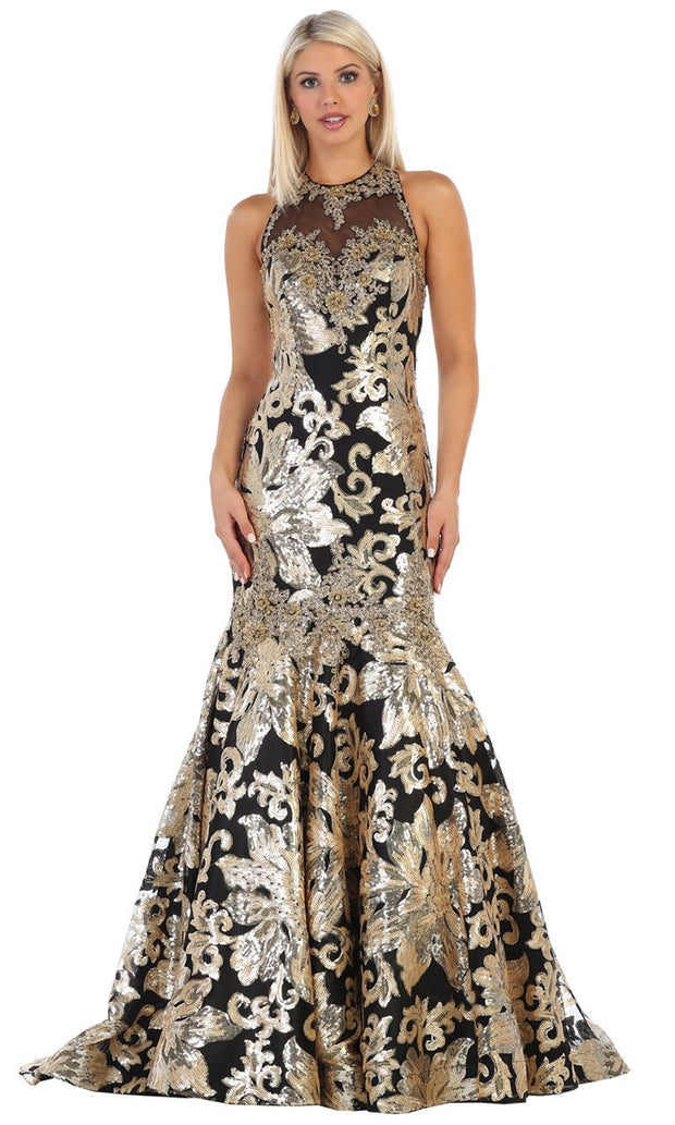 May Queen - RQ7698 Halter Sequined Trumpet Gown In Black and Gold