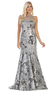 May Queen - RQ7698 Halter Sequined Trumpet Gown In Silver