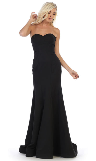 May Queen - RQ7703 Strapless Fitted Trumpet Dress In Black