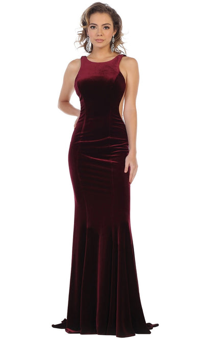 May Queen - RQ7709 Bateau Fitted Velvet Gown In Red and Black