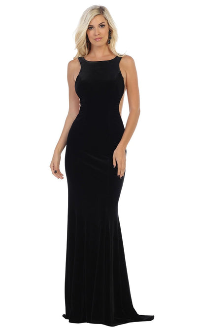 May Queen - RQ7709 Bateau Fitted Velvet Gown In Black