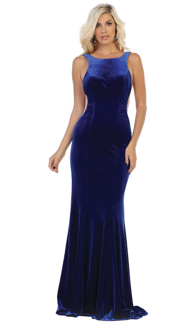 May Queen - RQ7709 Bateau Fitted Velvet Gown In Blue