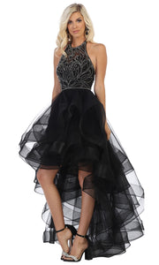 May Queen - RQ7717 Halter Beaded High Low Dress In Black