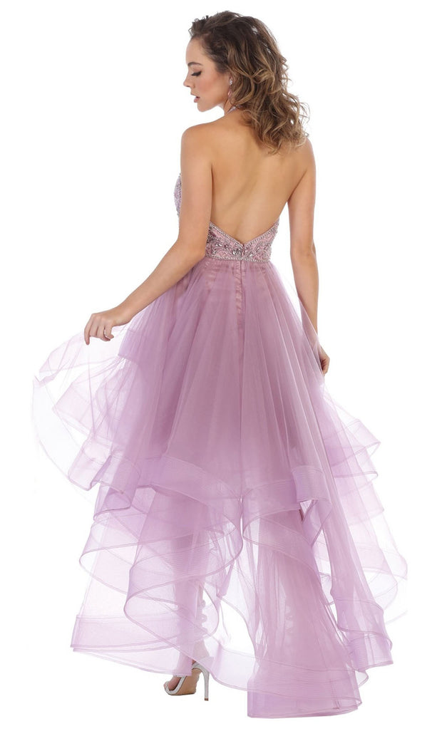 May Queen - RQ7717 Halter Beaded High Low Dress In Purple