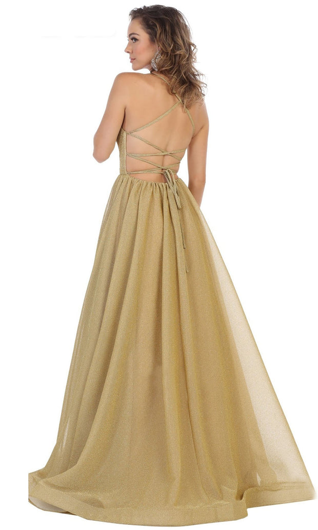 May Queen - RQ7724 Scoop Glittered A-Line Gown In Gold