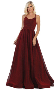 May Queen - RQ7724 Scoop Glittered A-Line Gown In Red and Black