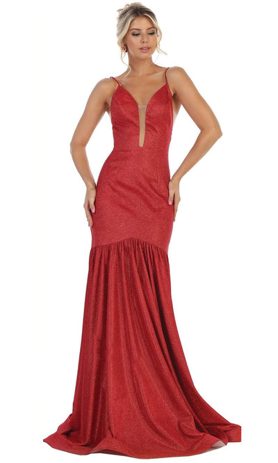 May Queen - RQ7725 Glitter V Neck Fitted Evening Gown In Red