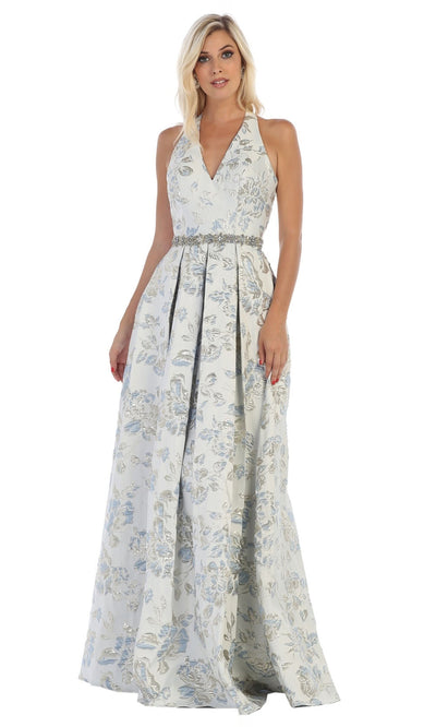 May Queen - RQ7731 Open Back Floral Gown In Blue