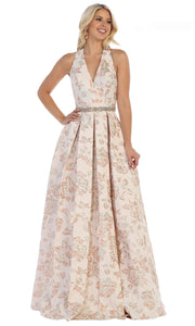May Queen - RQ7731 Open Back Floral Gown In Pink