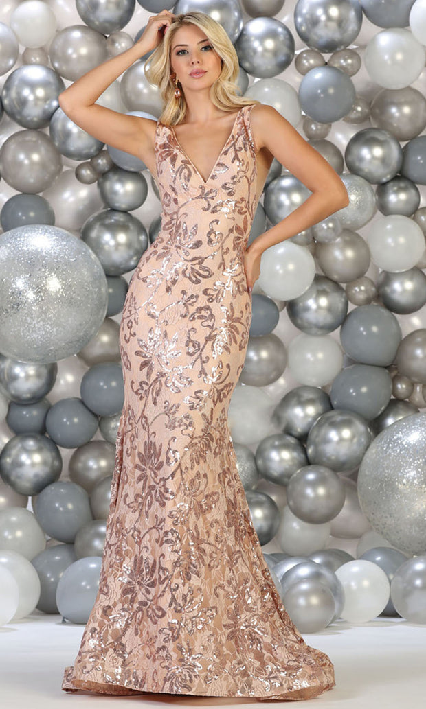 May Queen - RQ7746 Floral Sequined Deep V Neck Gown In Gold