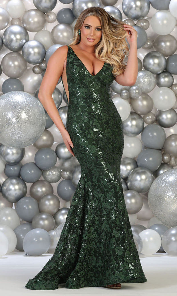 May Queen - RQ7746 Floral Sequined Deep V Neck Gown In Green