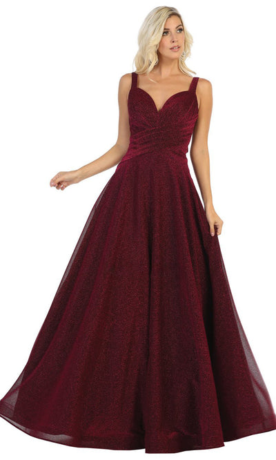 May Queen - RQ7747 Sleeveless Glittered Long Dress In Red and Black