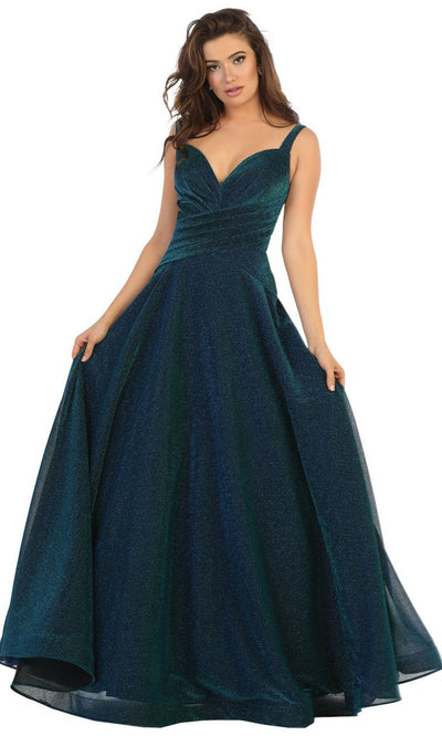 May Queen - RQ7747 Sleeveless Glittered Long Dress In Blue